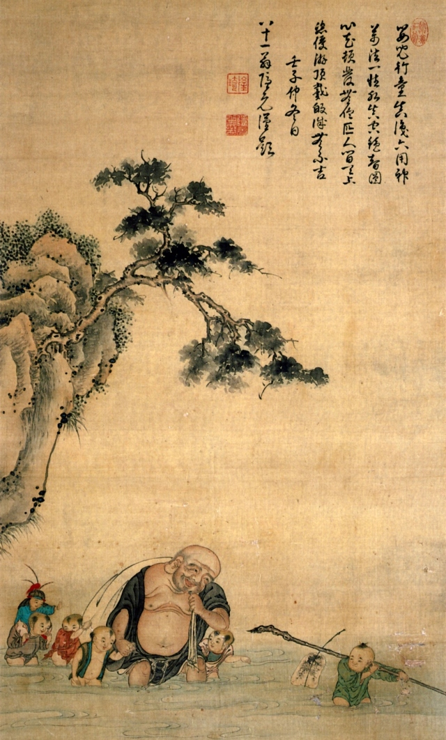Budai_Crossing_the_River_Attributed_to_Watanabe_Shuseki_Inscription_by_Yinyuan_hanging_scroll_color_on_silk