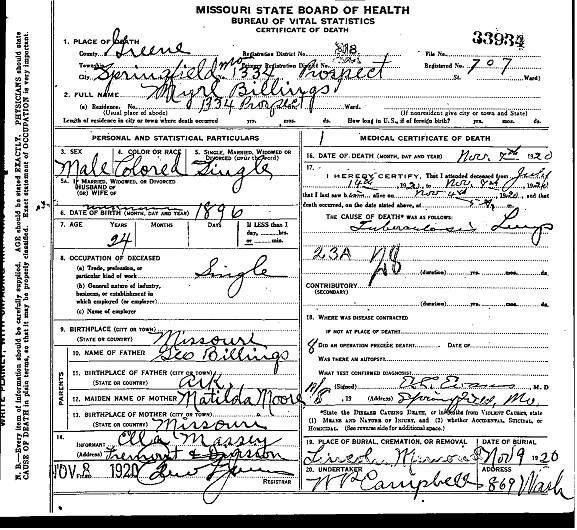 Myrl Billings death certificate