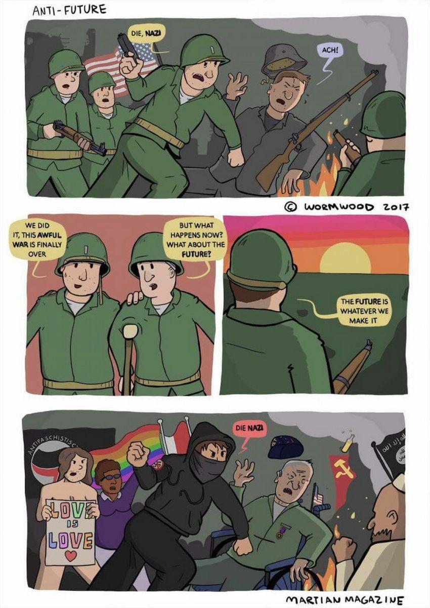 Antifa attacks veterans Nazi