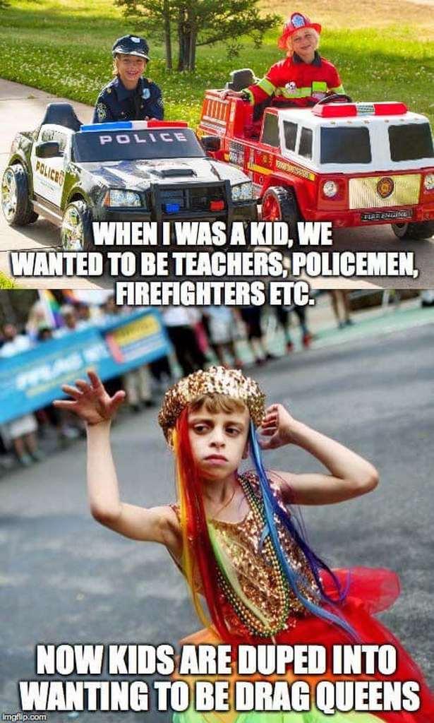 kids youth brainwashed drag queens left leftists PC deviants LGBTQ